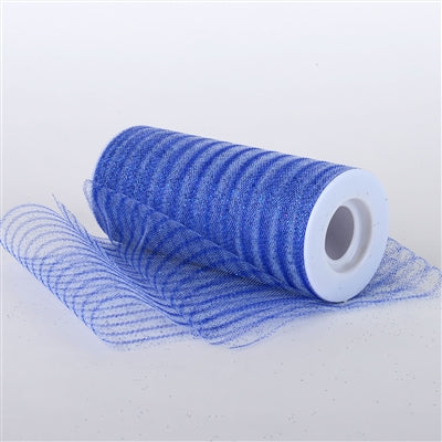 Royal Blue 6 Inch Glitter Multi Striped Tulle