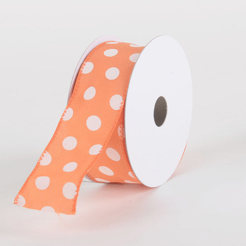 Satin Polka Dot Ribbon Wired Orange with White Dots ( W: 1-1/2 inch | L: 10 Yards )