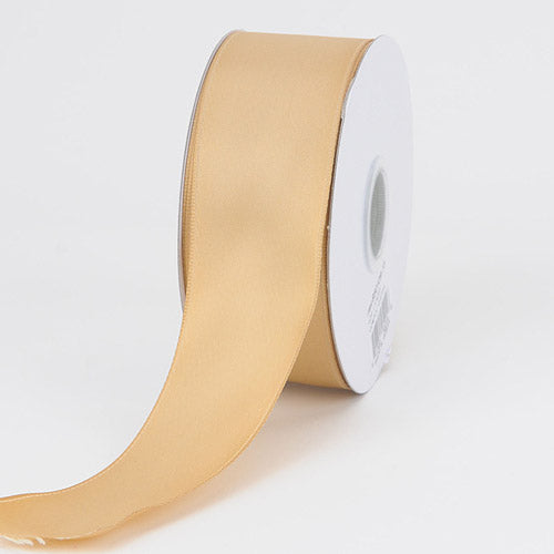 1-1/2 inch Old Gold Satin Ribbon Wired Edge