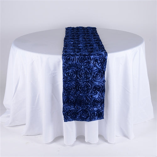 Navy Blue - 14 x 108 Inch Rosette Satin Table Runners - FuzzyFabric