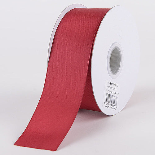 Burgundy - Satin Ribbon Double Face - ( W: 1-1/2 Inch | L: 25 Yards )