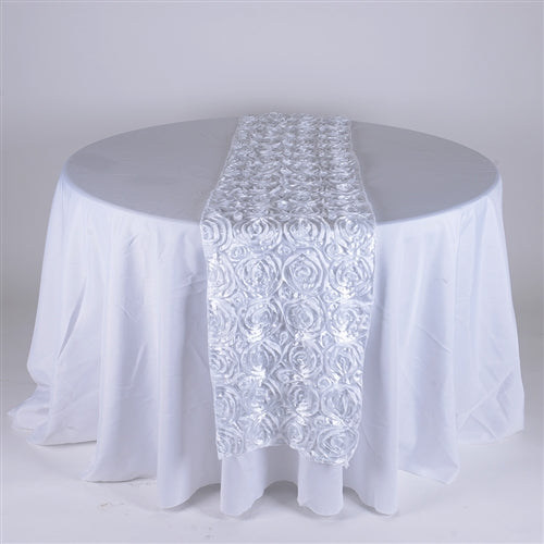 White - 14 x 108 Inch Rosette Satin Table Runners - FuzzyFabric