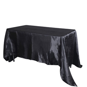 "60 Inch x 102 Inch Black 60"" x 102"" Rectangular Satin Tablecloths"