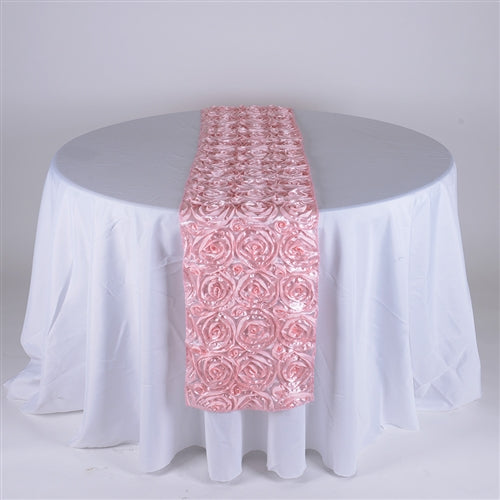 Pink - 14 x 108 Inch Rosette Satin Table Runners - FuzzyFabric