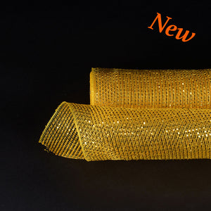 Gold Metallic Stripes Christmas Mesh - 21 Inch x 10 Yards