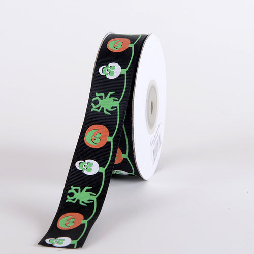 7/8 inch x 25 yards Black Halloween Ribbon