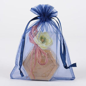 Navy Blue - Organza Bags - ( 6x15 Inch - 6 Bags )