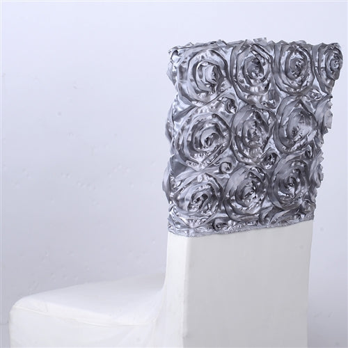 Silver - 16 x 14 Inch Rosette Satin Chair Top Covers