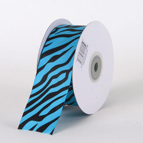 1-1/2 inch Turquoise Grosgrain Ribbon Animal Print