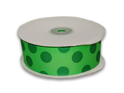 1-1/2 inch Apple Green with Emerald Dots Grosgrain Ribbon Jumbo Dots
