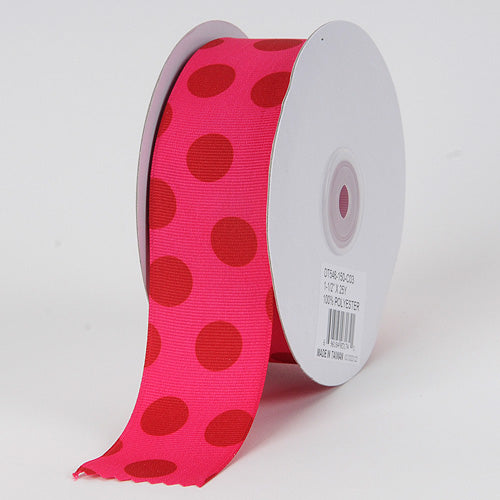 1-1/2 inch Fuchsia with Red Dots Grosgrain Ribbon Jumbo Dots