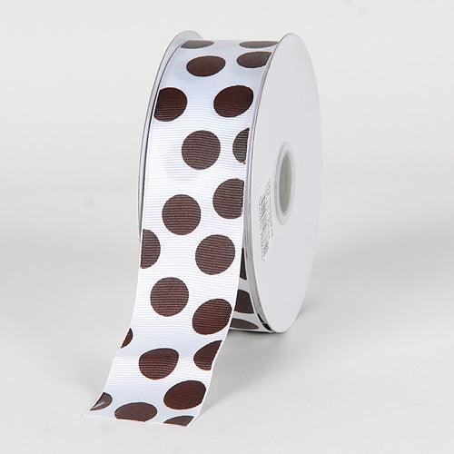 1-1/2 inch White with Chocolate Dots Grosgrain Ribbon Jumbo Dots