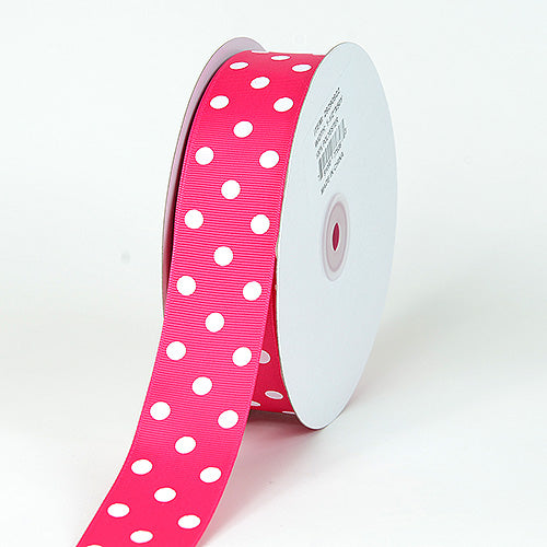 7/8 inch Fuchsia with White Dots Grosgrain Ribbon Polka Dot