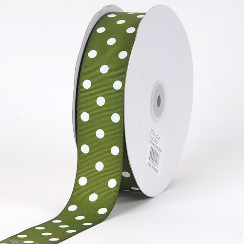 Old Willow with White Dots Grosgrain Ribbon Polka Dot - ( W: 3/8 Inch | L: 50 Yards )