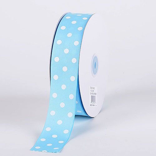 Baby Blue with White Dots Grosgrain Ribbon Polka Dot - ( W: 3/8 Inch | L: 50 Yards )