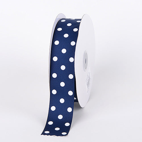 Navy with White Dots Grosgrain Ribbon Polka Dot - ( W: 3/8 Inch | L: 50 Yards )