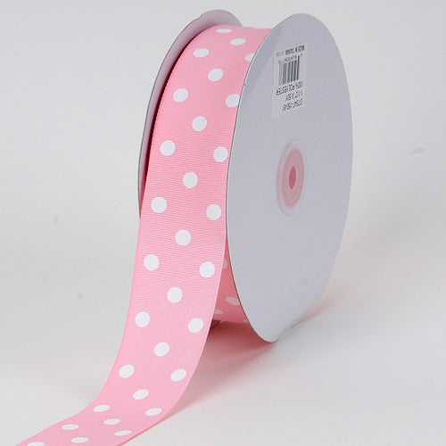 1-1/2 inch Light Pink With White Dots Grosgrain Ribbon Polka Dot