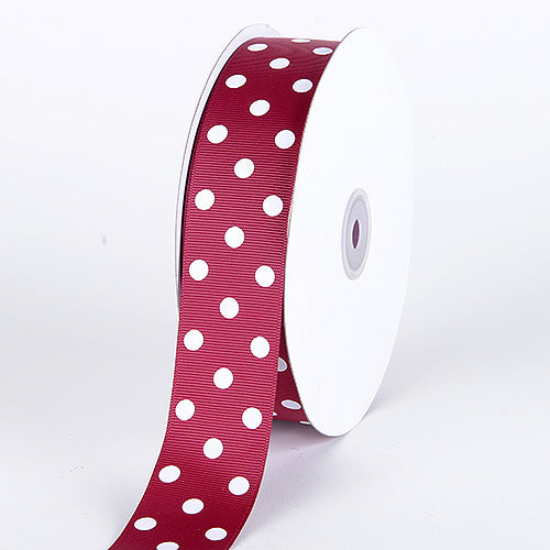 1-1/2 inch Burgundy with White Dots Grosgrain Ribbon Polka Dot
