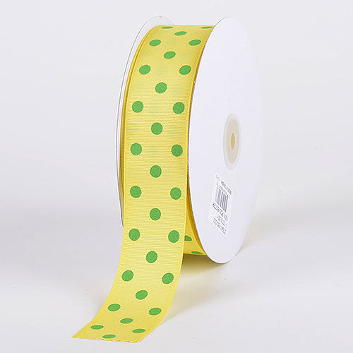 Canary with Apple Dots Grosgrain Ribbon Polka Dot - ( W: 3/8 Inch | L: 50 Yards )