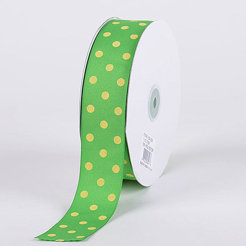 Apple with Canary Dots Grosgrain Ribbon Polka Dot - ( W: 3/8 Inch | L: 50 Yards )