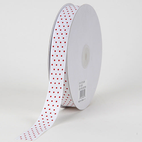 3/8 inch White with Red Dots Grosgrain Ribbon Swiss Dot