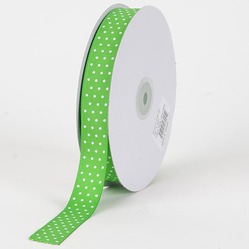 3/8 inch Apple Green with White Dots Grosgrain Ribbon Swiss Dot