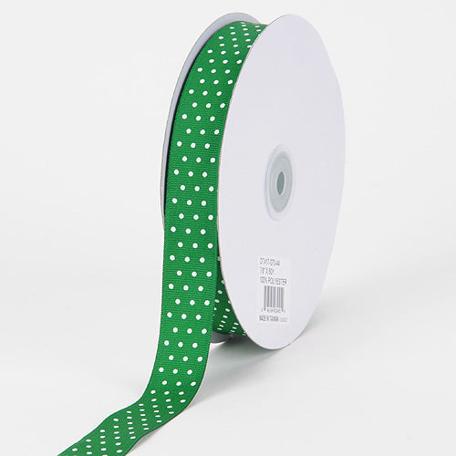 Emerald with White Dots - Grosgrain Ribbon Swiss Dot - ( W: 5/8 Inch | L: 50 Yards )