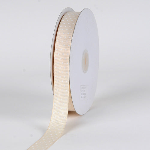 Ivory with White Dots - Grosgrain Ribbon Swiss Dot - ( W: 5/8 Inch | L: 50 Yards )