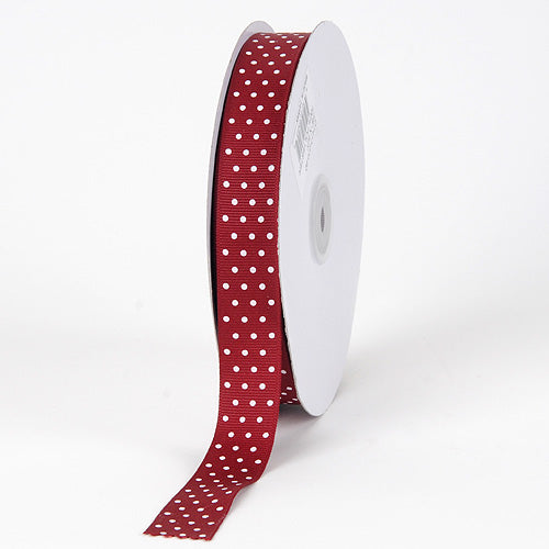 7/8 inch Burgundy with White Dots Grosgrain Ribbon Swiss Dot
