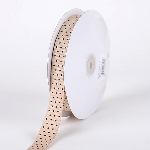 Tan with Brown Dots - Grosgrain Ribbon Swiss Dot - ( W: 5/8 Inch | L: 50 Yards )