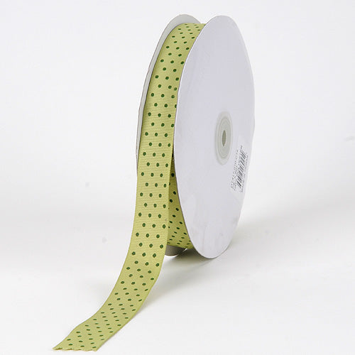 Pear with Willow Dots - Grosgrain Ribbon Swiss Dot - ( W: 5/8 Inch | L: 50 Yards )