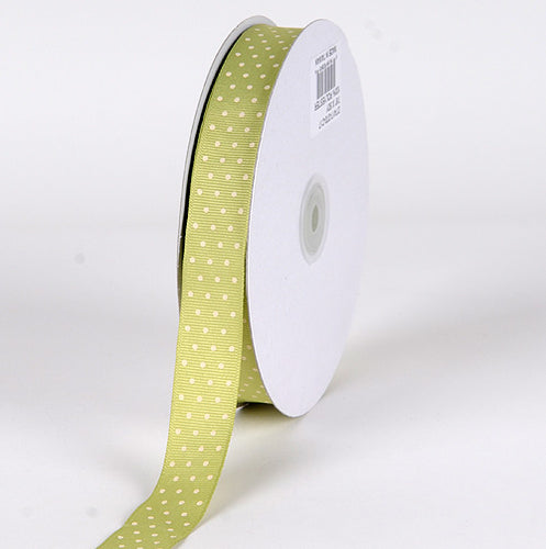 7/8 inch Pear with Ivory Dots Grosgrain Ribbon Swiss Dot