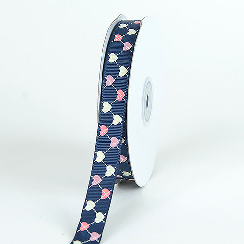 Navy Blue - Grosgrain Ribbon Plaid Sweetheart Print - ( W: 5/8 Inch | L: 25 Yards )