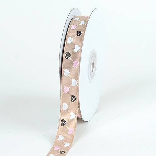 Tan - Grosgrain Ribbon Plaid Sweetheart Print - ( W: 5/8 Inch | L: 25 Yards )