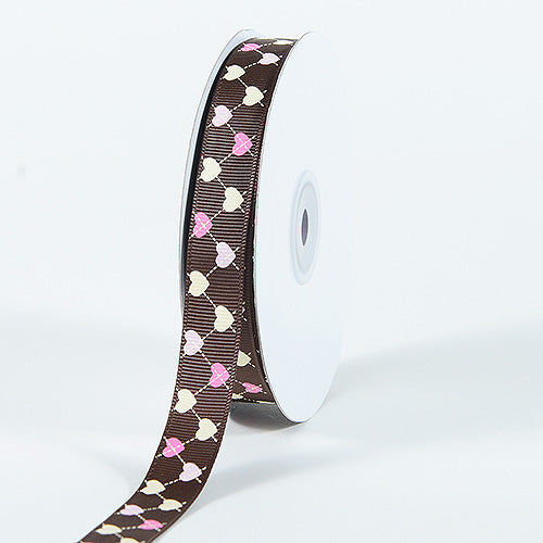 Brown - Grosgrain Ribbon Plaid Sweetheart Print - ( W: 5/8 Inch | L: 25 Yards )