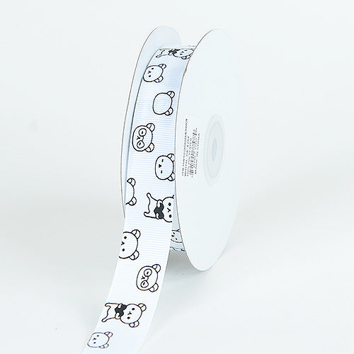 7/8 inch White Grosgrain Ribbon Bear Print