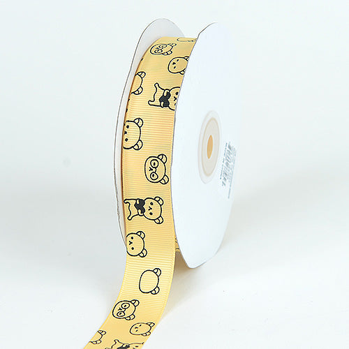 7/8 inch Yellow Grosgrain Ribbon Bear Print