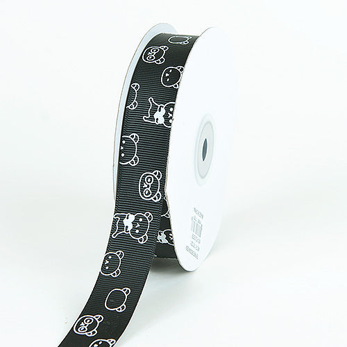 7/8 inch Black Grosgrain Ribbon Bear Print