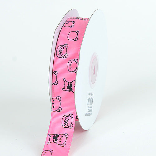 7/8 inch Hot Pink Grosgrain Ribbon Bear Print