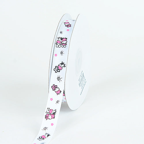 White - Grosgrain Ribbon MooMoo Cow Print - ( W: 5/8 Inch | L: 25 Yards )