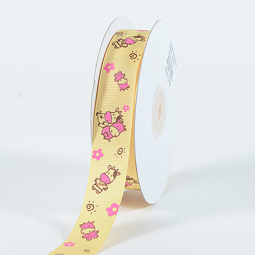 Yellow - Grosgrain Ribbon MooMoo Cow Print - ( W: 5/8 Inch | L: 25 Yards )