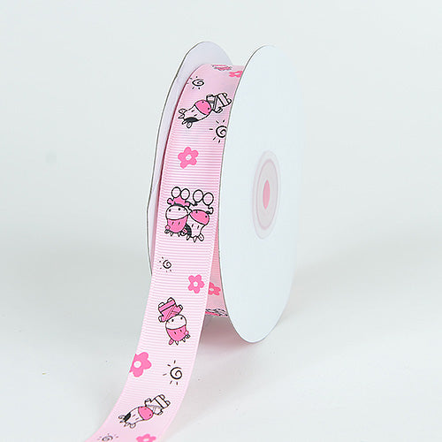 7/8 inch Light Pink Grosgrain Ribbon MooMoo Cow Print