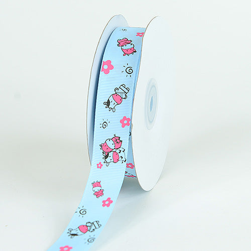 Light Blue - Grosgrain Ribbon MooMoo Cow Print - ( W: 5/8 Inch | L: 25 Yards )