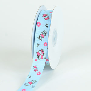 7/8 inch Light Blue Grosgrain Ribbon MooMoo Cow Print