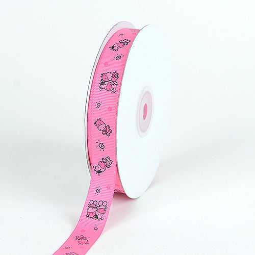 Hot Pink - Grosgrain Ribbon MooMoo Cow Print - ( W: 5/8 Inch | L: 25 Yards )