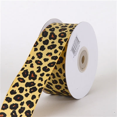 1-1/2 inch Baby Maize Grosgrain Leopard Print Ribbon