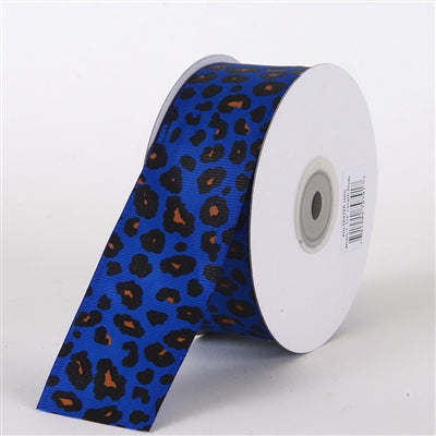 1-1/2 inch Royal Blue Grosgrain Leopard Print Ribbon