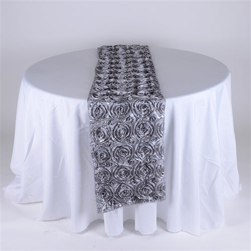 Silver - 14 x 108 Inch Rosette Satin Table Runners - FuzzyFabric