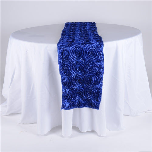 Royal Blue - 14 x 108 Inch Rosette Satin Table Runners - FuzzyFabric