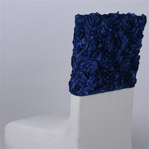Navy Blue - 16 x 14 Inch Rosette Satin Chair Top Covers